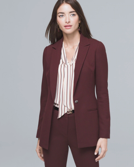 White House Black Market Luxe Suiting Longline Jacket in Port