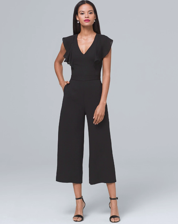 cropped leg jumpsuit with ruffle sleeves