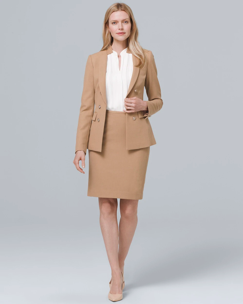 White House Black Market Luxe Suiting Jacket Camel Skirt Suit