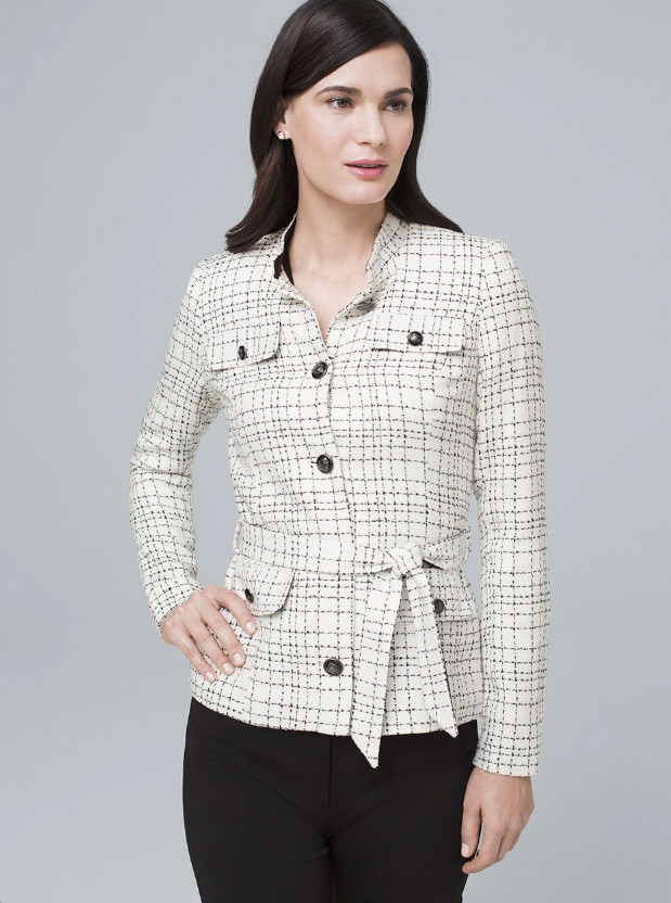 Belted White and Black Jacket
