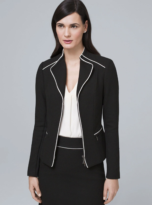 Black Jacket with White Piping