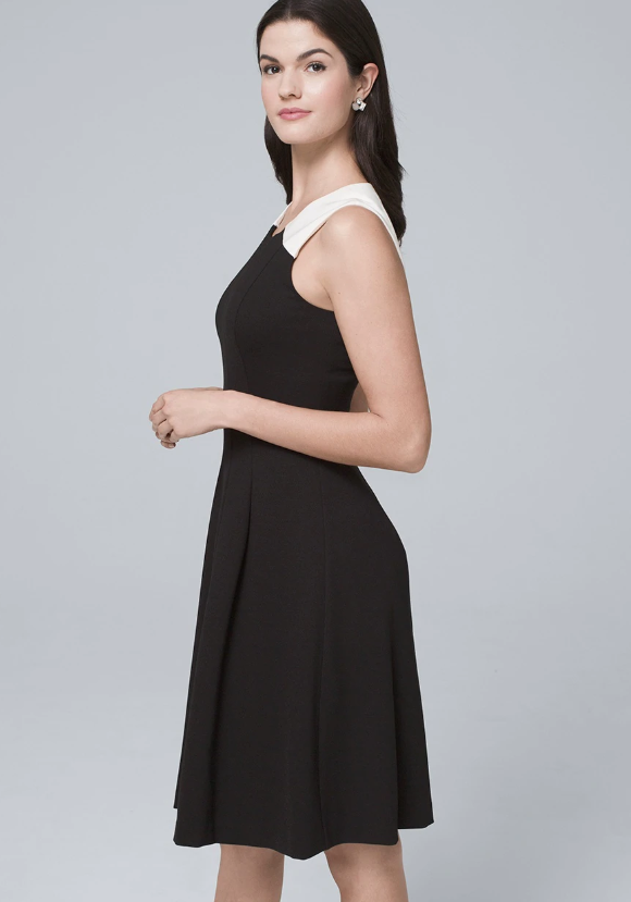 Colorblock Polished Knit Fit-and-Flare Dress