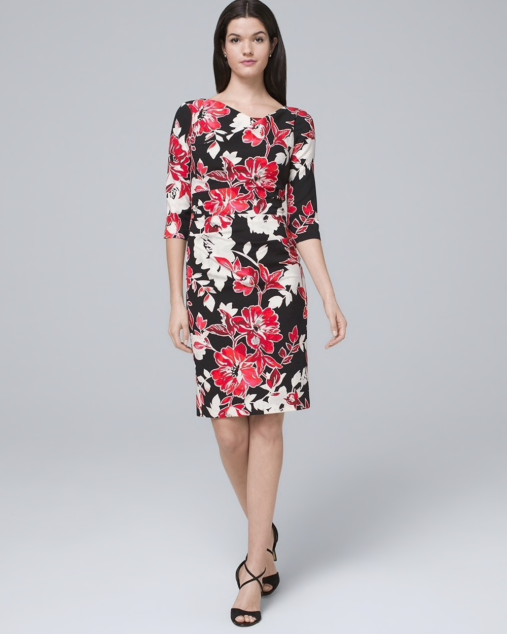 Drape-Neck Floral Sheath Dress