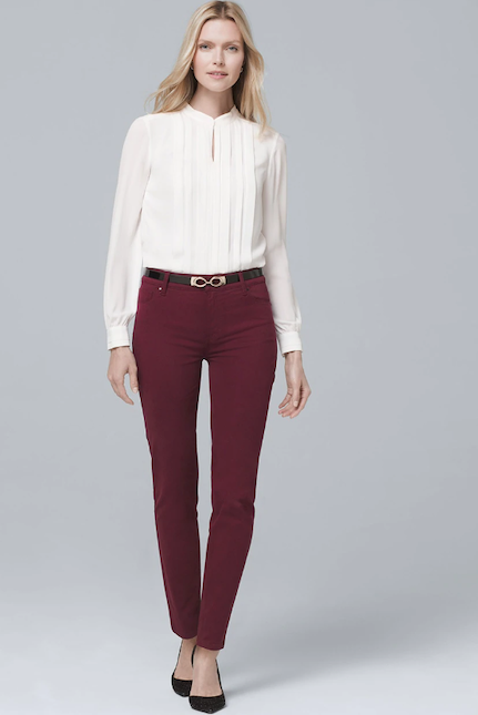 High-rise skinny jeans in port