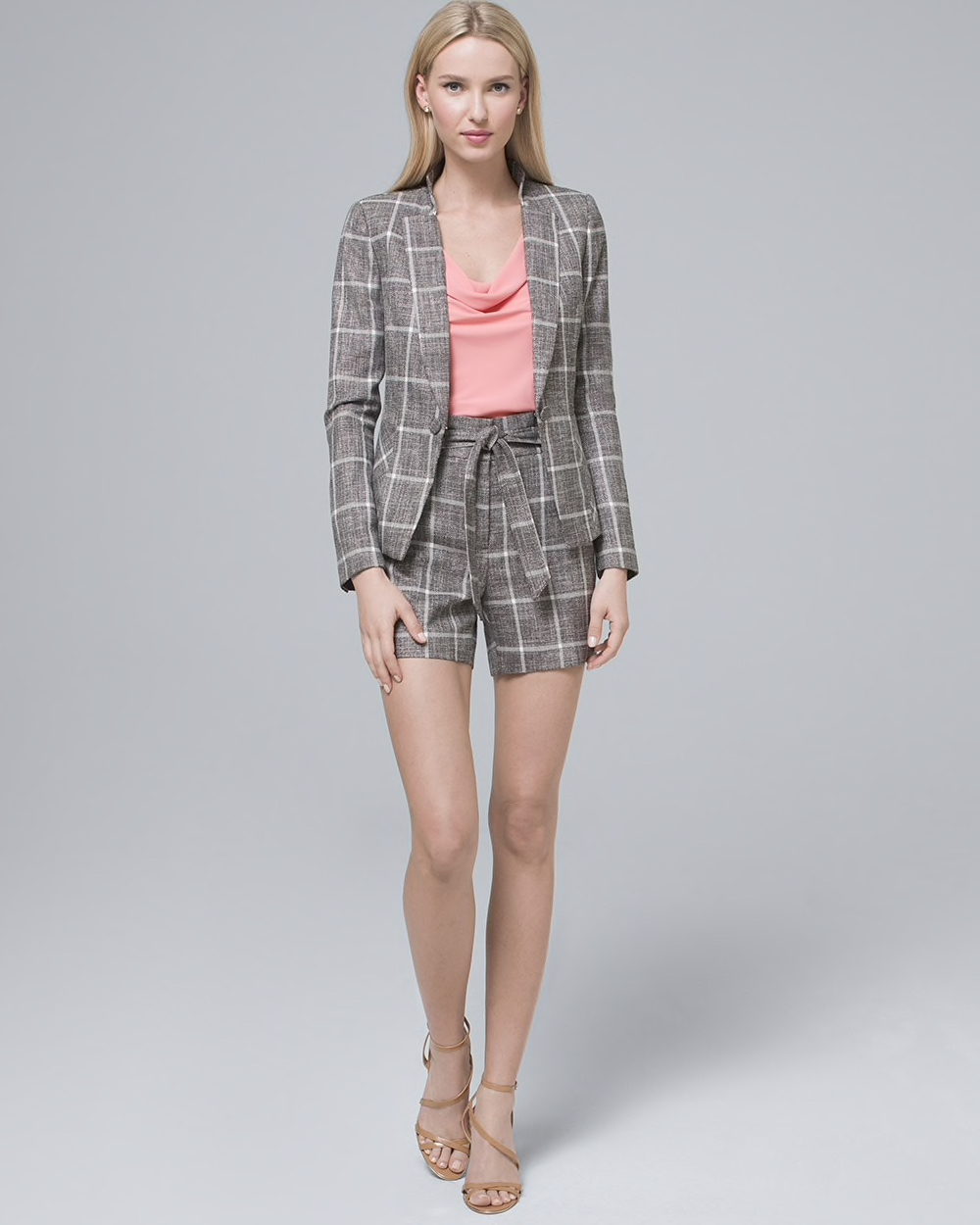 A checked shorts suit set.