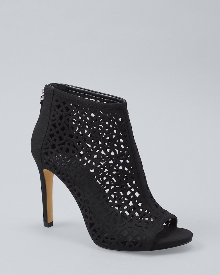 Black Laser-Cut Peep-Toe Booties