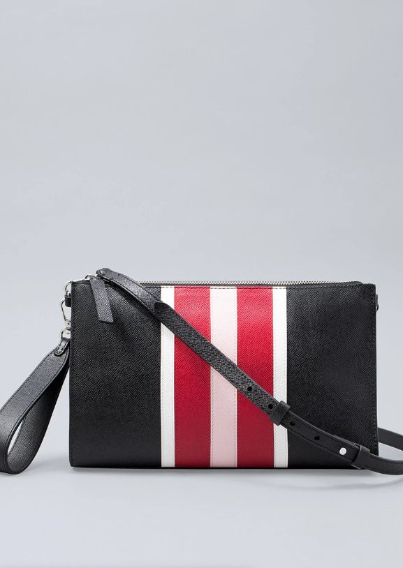 Leather colorblock clutch
