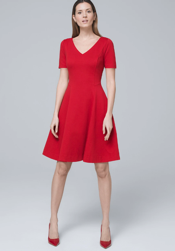 Polished Knit Fit-and-Flare Dress