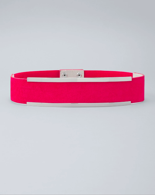 Hot Pink Stretchy Belt with Two Silver Bars