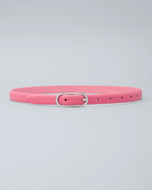 reversible light pink skinny belt with silver hardware