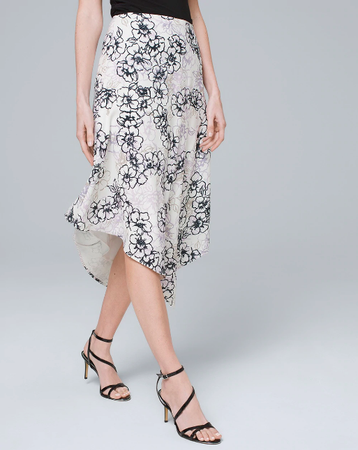 floral printed knee length asymmetrical skirt