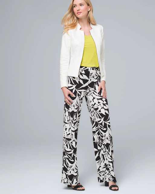 woman in black and white floral printed pants