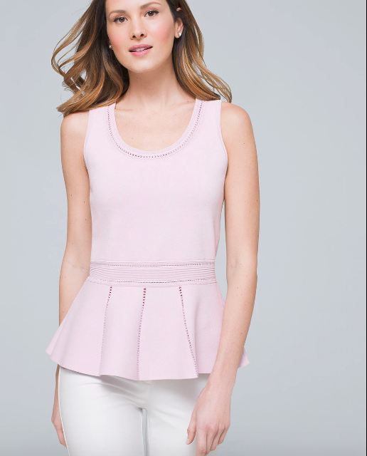 knit sleeveless scoop neck lavender top with peplum