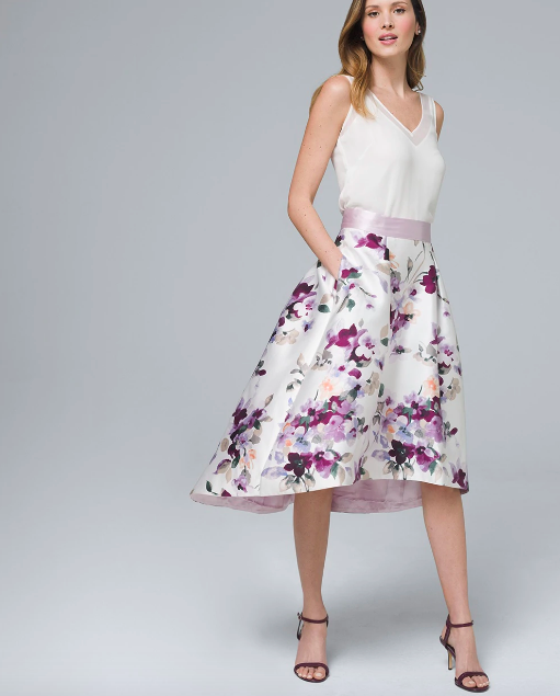 Knee-length floral A-line skirt
