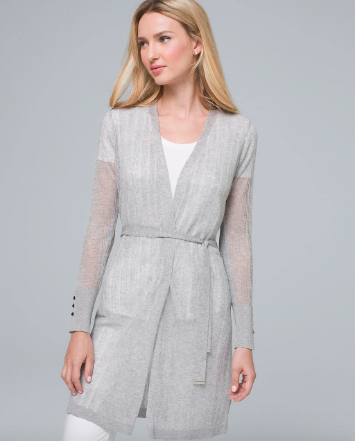 Gray sheer long belted cardigan