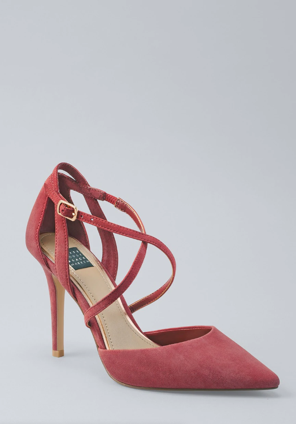 Suede strappy pumps in rococo red