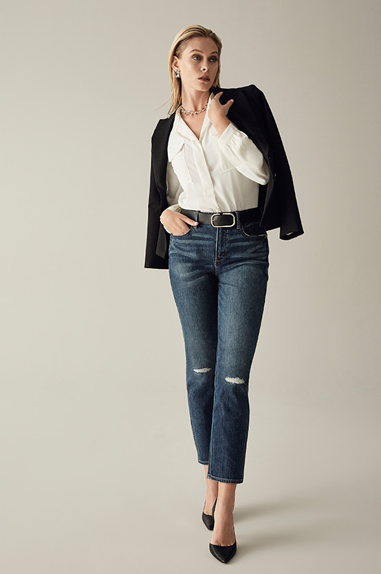 destructed denim is perfect for Fridays