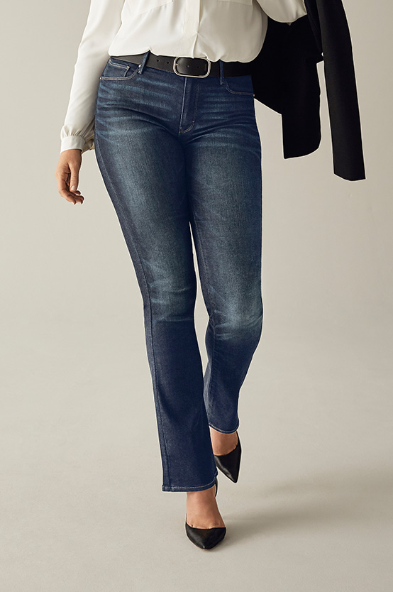 WHBM flare jeans flatter your body